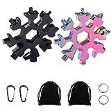 【2 Pcs】18-in-1 Multi-Tool Snowflake, Multi Attrezzo in Acciaio Portatile Cacciavite Bottle Opener Keychain Chiave per viaggi in campeggio(Nero,Colorato)