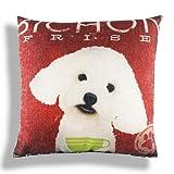 Retro Vintage Bichon Frise Dog Pet Home Pillow Case Cushion Cover 18''