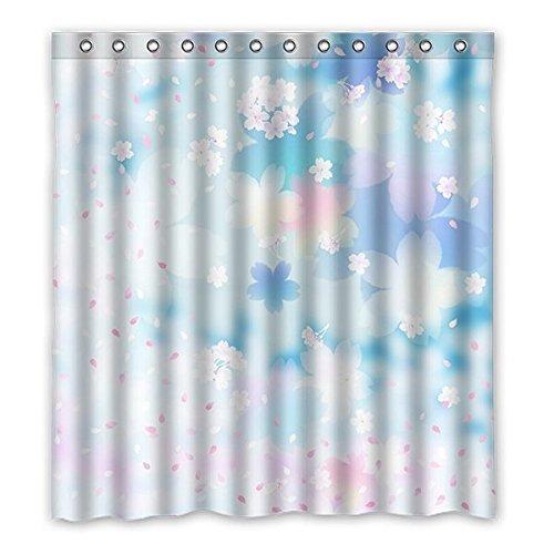 ICY Sommer-Plumeria Custom Blau Wasserdicht Polyester-Badezimmer-Dusche Vorhang 167,6x 182,9cm (167cm x 183cm), Polyester, G, 168 x 183 cm