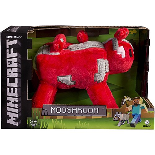 "JINX Minecraft Mooshroom Plush Stuffed Toy, Red, 9"" Long, with Display Box"