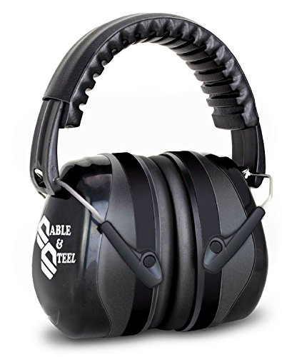 Sable & Steel Highest NRR 35db Safety Ear Muffs Auto Adjustable Earmuffs Shooters Hearing Protection Ear Muffs For Sports Outdoors Shooting Racing Work. Fits Adults Children. Black
