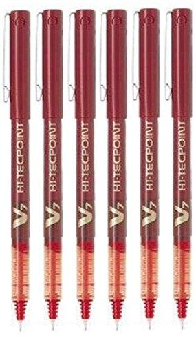 Pilot, BX V7 Hi Tecpoint, penna a sfera rossa ultra sottile con pennino da 0,7 mm, linea da 0,5 mm, (confezione da 6)