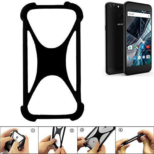 K-S-Trade Handyhülle für Archos 55 Graphite Schutz Hülle Silikon Bumper Cover Case Silikoncase TPU Softcase Schutzhülle Smartphone Stoßschutz, schwarz (1x)