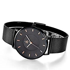 SK Fashion Women Watches Silver Stainless Steel Quartz Wristwatch Clock Ladies Bracelet Watches (0059 Black) #1