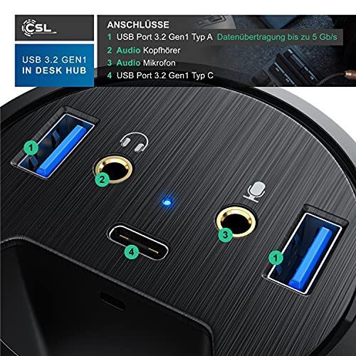 CSL - USB 3.2 Gen1 Tisch Kabeldurchführung - Tischkabeldose Multi In Desk USB Hub - 2 x USB 3.2 Gen 1 - 1 x USB C 3.2 Gen1 - 2 x Audioanschlüsse 3,5mm Klinke Lautsprecher und Mikrofon - Plug & Play