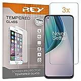 REY 3X Protector de Pantalla para ONEPLUS Nord N10 5G - ONEPLUS N100, Cristal Vidrio Templado Premium