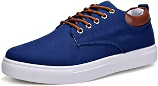 2018 Men's Casual Flat Sport Shoes Unisex Lover Style Lace Up Canvas Ankle Sneakers (Color : Blue, Size : 42 EU)
