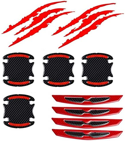 2PCS Waterproof Claw Marks Decal Reflective Sticker and 8pcs Universal 3D Carbon Fiber Car Door product image