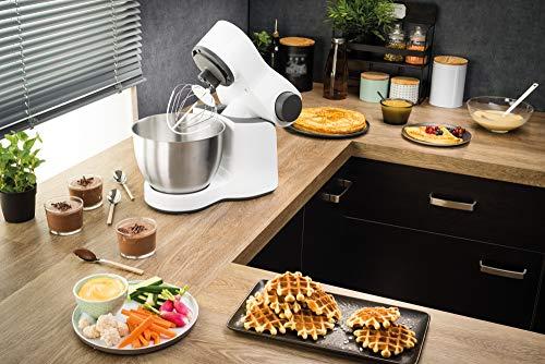 Krups KA3121 Master Perfect Küchenmaschine (1000 Watt, Gesamtvolumen: 4 Liter, inkl.: Back-Set, Aufsatz Schnitzelwerk mit Reibekucheneinsatz) weiß - 3