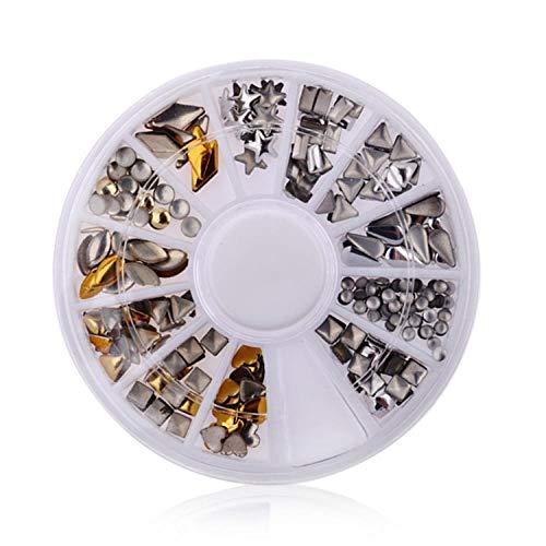 Uñas Postizas Puntas De Uñas Diy Nail Art Wheel Tips Crystal Glitter Rhinestone 3D Nail Art Decoration Blanco Ab Color Acrílico Diamond Drill-041