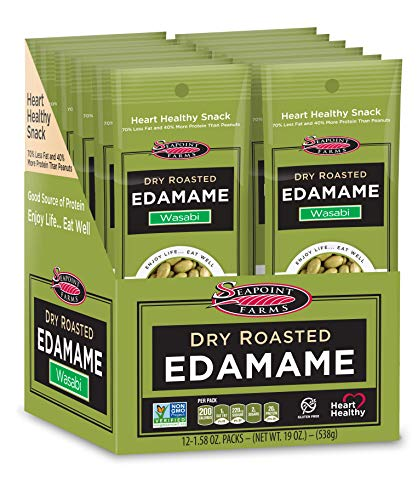 Seapoint Farms Wasabi Dry Roasted Edamame Healthy GlutenFree Snacks 12 Pack