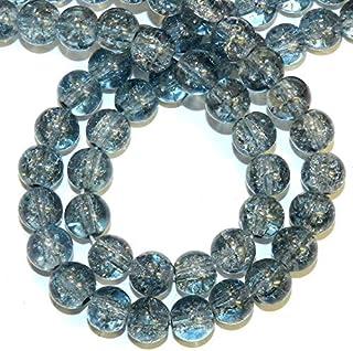 Zoya Gems & Jewellery Blue Gray Steel 10mm Round Crackle Crystal Beads 20-inch Strand Necklace