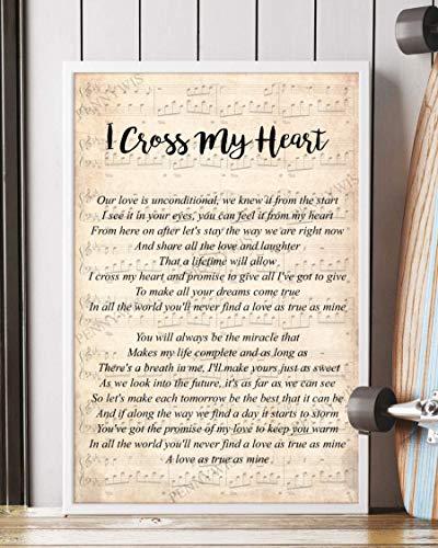 PENNYWIS Decor Gift - I Cross My Heart Song Lyrics [v2] Portrait Poster Wall Art Print (24' x 36')