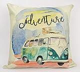 UniikStuff Adventure Time | Pillow Cover | Wanderlust | Throw Pillow | Camper Van | VW Bus | Pillow | Home Decor | 18 x 18 Pillow | Adventure Awaits