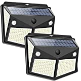 DOOK Luz Solar Exterior 280 LED【2 Pack / 3 Modos】con Sensor de Movimiento, Luces LED Solares Jardin 300º Lluminación, 3000LM, Focos LED Exterior Solar Impermeable Lámpara IP65 para Jardín