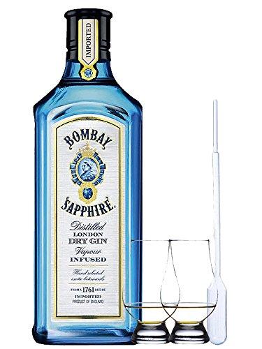 Bombay Sapphire Gin 1,0 Liter + 2 Glencairn Gläser und Einwegpipette