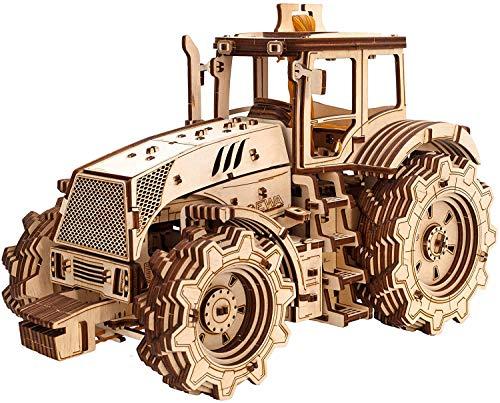 EWA Eco-Wood-Art 3D Holzpuzzle für Jugendliche und Erwachsene-Mechanisches Traktor Modell-DIY-Bausatz, Selbstmontage, kein Kleber erforderlich, Natur