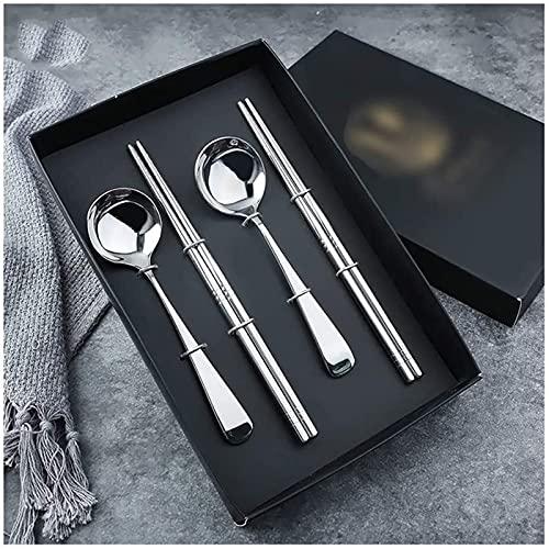 Cuchara de acero inoxidable palillos de regalo de 4 piezas conjunto de caja de regalo de 4 piezas Cuchara masculina palillos masculinos Hogar pequeña cuchara cuchara cuchara cuchara GIAOYAO