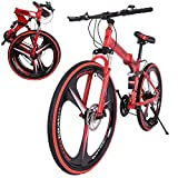 SMIDOW 26in Folding Mountain Bike / 21 Speed Cyclocross Bicycles with Double Disc Brakes/Full Suspension MTB Bike/Non-Slip City Road Bike/Exercise Fitness Mens Womens Outdoor Bicycle
