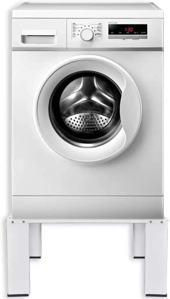 Waschmaschinen-Standfu/ßhalter mit ausziehbarer Ablage wei/ß Stahl verstellbare F/ü/ße Belastung 100 kg Standfu/ßhalter mit ausziehbarer Ablage 63 x 54 x 51 cm rutschfeste Pads