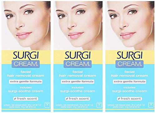 Surgi-cream Hair Remover For Face,  1-Ounce Tubes (Pack of 3)