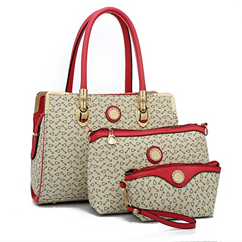 BYD - Donna Female Borse a mano Set 3 in 1 Set Colore puro High Quality PU Leather Anchor Picture Mutil Function with 1 Purse and 1 Wallet Elegant Fashion School Bag Work Office Bag
