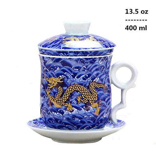 4pcs kit of Chinese Dragon Pattern Tea-Mug with Strainer Infuser and Lid and Saucer Ceramic Tea Mug Convenient System Chinese Jingdezhen Porcelain Personal Tea Cup,13.5oz(400ml)/4 Colors (BLUE)