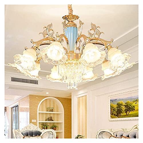 LATOO Lámparas de araña Lámpara de araña de Cristal de Estilo Europeo luz cálida Lujo LED Flor lámpara de Techo Villa Sala de Estar Comedor Estudio 85 × 50 cm