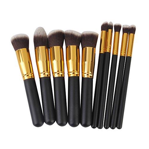 Sharplace 10pcs Pro Fundación de Sombra de Ojos Delineador de Ojos Maquillaje Cosmético Del Cepillo Del Cepillo Del Sistema Herramientas - dorado