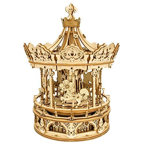 ROKR 3D Wooden Puzzles Model Kits Mechanical Music Box Romantic Carousel