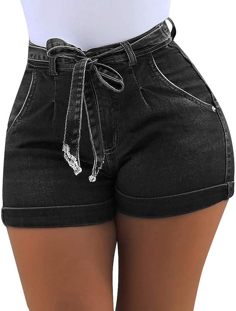 AmazingDays Womens Jeans Shorts Summer Casual Drawstring Elastic Waist Mid Rise Hemming Hot Denim Shorts