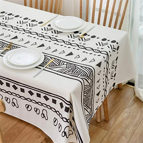 HTUO Rectangular Tablecloth Cotton Linen Printed Tablecloth Christmas Decoration Table Cover Black White Geometric Printed Dining Table Multifunctional Cover Towel Wedding 140 * 180cm
