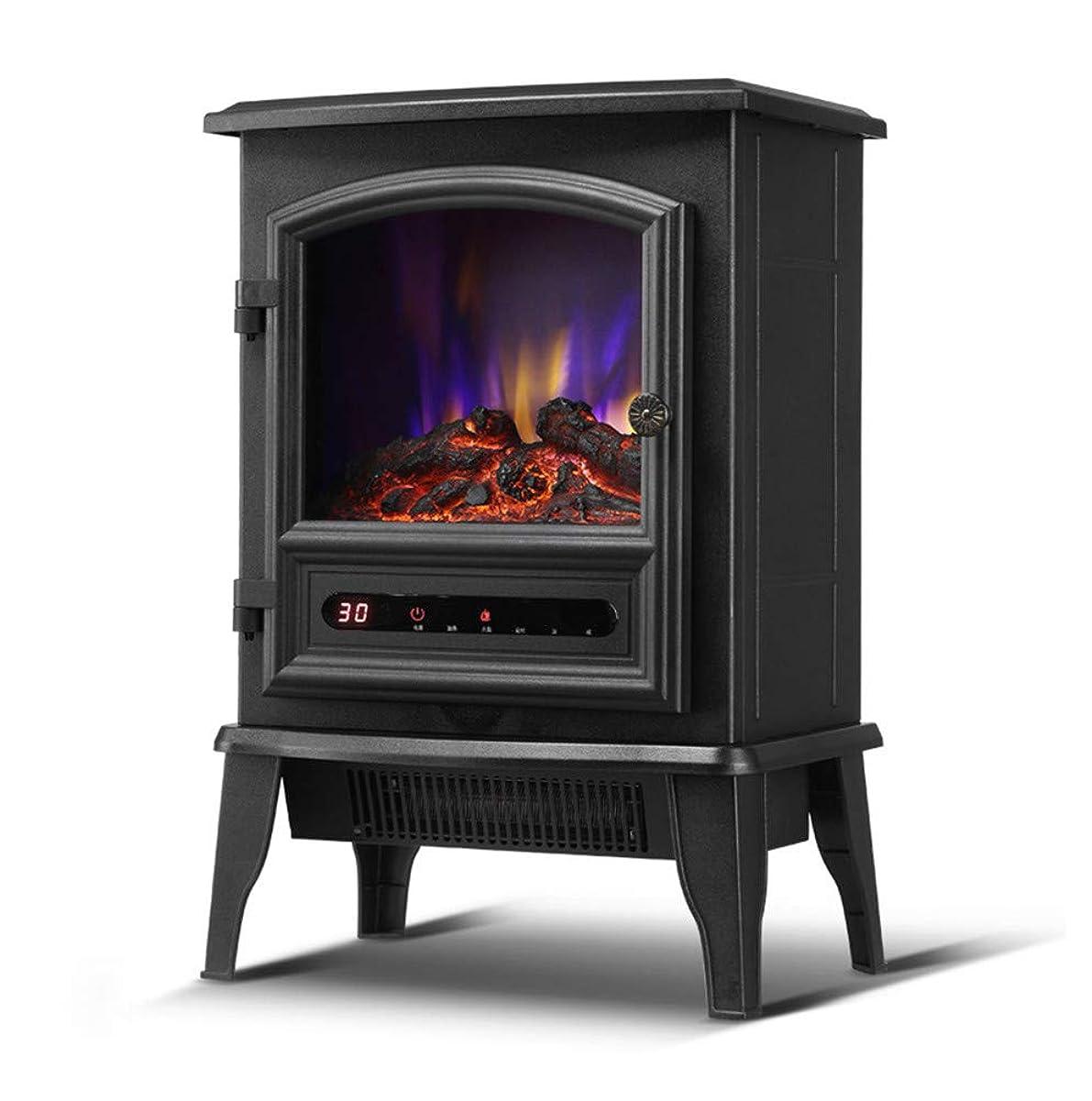 王位機知に富んだ部電気ストーブヒーター(リモート付き)、LED燃焼フレーム効果、調節可能なサーモスタットおよび過熱保護付きのビンテージミニ電気暖炉ヒーター、リビングルームに最適な屋内ヒーター