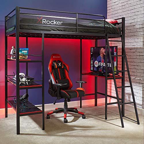 X Rocker Fortress High Sleeper Gaming Bunk Bed with Desk, Shelves and Ladder, Single 3ft Frame, Black, Metal Kids Loft Bed