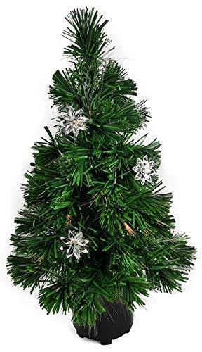 My-goodbuy24 Weihnachtsbaum Künstlicher Tannenbaum Christbaum beleuchtet 60cm - grün - mit Glasfaser - Farbwechsler - 60 Flexible Zweigen - Blumen Ornamenten - 9 Verschiedene Lichteffekte