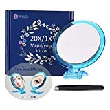 20X Magnifying Mirror, Two Sided Mirror, 20X/1X Magnification, Folding Makeup Mirror with Handheld/Stand,Use for Makeup Application, Tweezing, and Blackhead/Blemish Removal. (Blue)