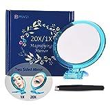 Beauty Planet Miroir grossissant 20X, miroir double face, grossissement 20X/1X, miroir de makeup pliable avec support de poche, pour maquillage, pince à poils et points noirs/taches.