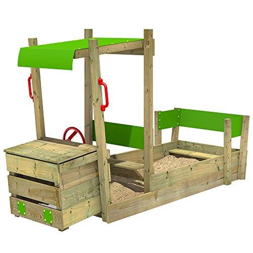 FATMOOSE Sandkasten PowerPulley, Sandkiste LKW für Kinder, Sandbox mit Lenkrad und Sitzbank