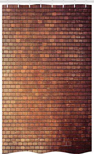 ABAKUHAUS Ziegelwand Schmaler Duschvorhang, Landhaus Außen, Badezimmer Deko Set aus Stoff mit Haken, 120 x 180 cm, Braun Dunkelbraun Hellbraun