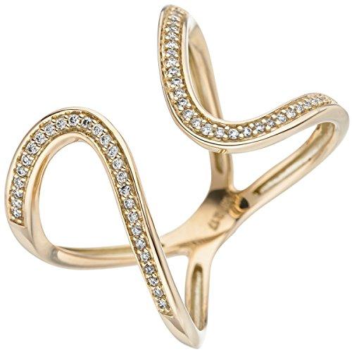 JOBO Damen Ring 585 Gold Gelbgold 55 Diamanten Brillanten Goldring Diamantring Größe 60