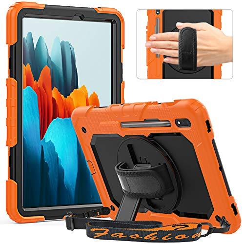 Timecity - Funda para Galaxy Tab S7 11 2020 (SM-T870/T875), diseño de cuerpo completo con soporte giratorio 360 con protector de pantalla, correa de mano y soporte para bolígrafo, color naranja