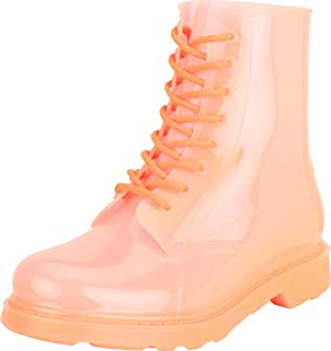 Cambridge Select Women's Mono Jelly Lace-Up Lug Sole Chunky Block Low Heel Combat Boot