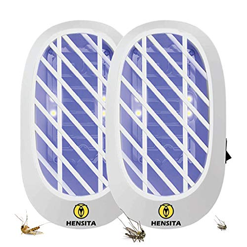 HENSITA Asesino de insectos de interior - Potente eliminador de insectos Zapper Catcher ecológico - Insect Killer 2 paquetes de insectos eléctricos enchufables para interiores (blanco)