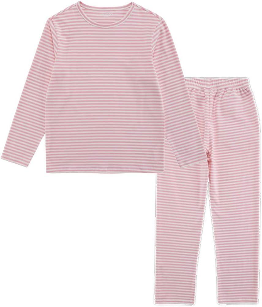 UNACOO Toddler Kids Boys Girls Long-Sleeves Sleepwear 2-Piece Cotton Pajama Sets (Age 3-12 Years)(Pink Stripe Sets, s)