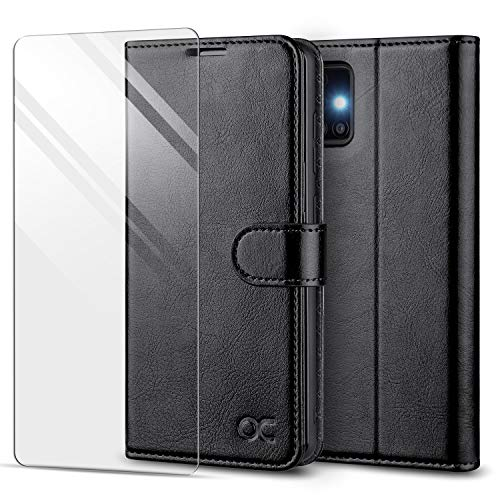 OCASE Custodia Samsung A51, Cover Galaxy A51 Interno TPU Antiurto Portafoglio [Pellicola Protettiva Gratuita] [Carta Fessura] Custodie in Pelle per Samsung Galaxy A51 (6,5 Pollici) - Nero