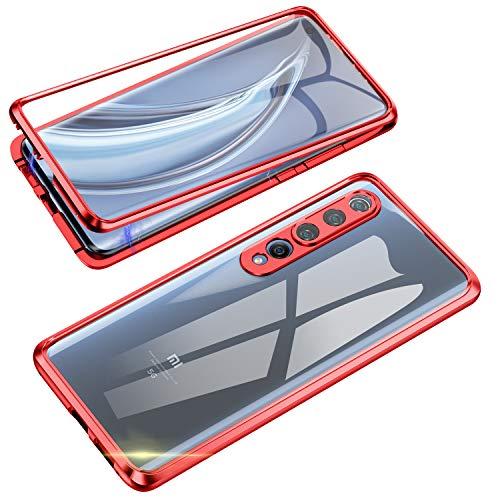 Jonwelsy Funda para Xiaomi Mi 10, 360 Grados Delantera y Trasera de Transparente Vidrio Templado Case Cover, Fuerte Tecnología de Adsorción Magnética Metal Bumper Cubierta para Xiaomi Mi 10 (Rojo)
