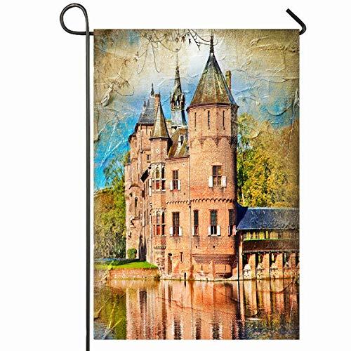Jardín al aire libre Bandera 12.5 'x 18' Pulgadas Castillo Verde Medieval Pintura del Museo del Aceite Vintage Holanda Europea Antiguo Escénico Diseño antiguo Estacional Casa Decorativa Casa Patio Mue