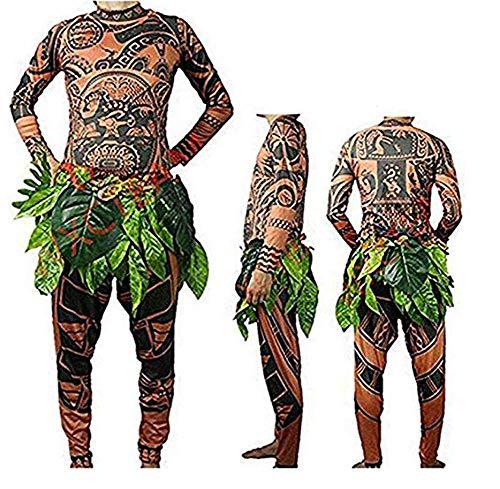 Mona Maui Halloween-Kostüm, Cosplay-T-Shirt + Hose mit Blättern für Kinder, Erwachsene, Baby, Herren, Familienkleidung Gr. XXL, braun