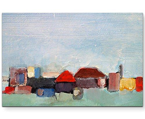 Paul Sinus Art Leinwandbilder | Bilder Leinwand 120x80cm Gemälde mit ländlichen Gebäuden