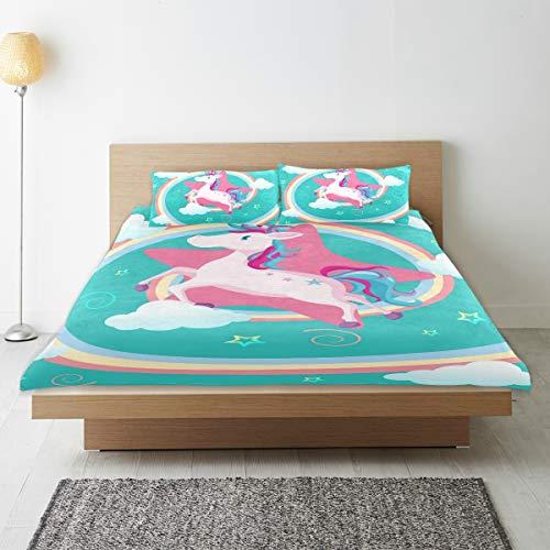 DEZIRO - Juego de funda de edredón para adolescentes, diseño de unicornio y arcoíris, algodón natural puro, tamaño individual con 2 fundas de almohada para decoración de dormitorio de niños, juego de cama de 3 piezas